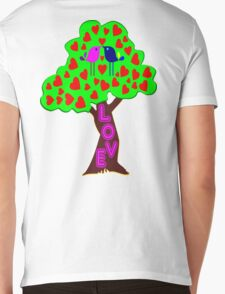 °•Ƹ̵̡Ӝ̵̨̄Ʒ♥Romantic Lovebirds Kissing on a Love-Tree Clothing & Stickers♥Ƹ̵̡Ӝ̵̨̄Ʒ•° Mens V-Neck T-Shirt