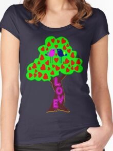 °•Ƹ̵̡Ӝ̵̨̄Ʒ♥Romantic Lovebirds Kissing on a Love-Tree Clothing & Stickers♥Ƹ̵̡Ӝ̵̨̄Ʒ•° Women's Fitted Scoop T-Shirt