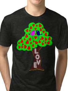 °•Ƹ̵̡Ӝ̵̨̄Ʒ♥Romantic Lovebirds Kissing on a Love-Tree Clothing & Stickers♥Ƹ̵̡Ӝ̵̨̄Ʒ•° Tri-blend T-Shirt