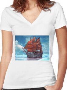 Ship on ice Women's Fitted V-Neck T-Shirt