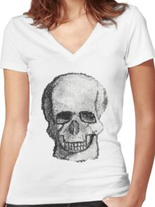 Skull no background Women's Fitted V-Neck T-Shirt