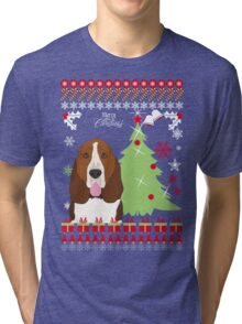 Basset Hound Christmas Sweater Tri-blend T-Shirt