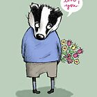 """LOVE YOU"" SWEET BADGER BOY by Jane Newland"