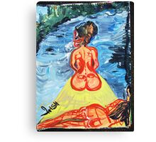 WOMEN ON A JOURNEY - acrylic, tempera, paper 18 x 24 Canvas Print