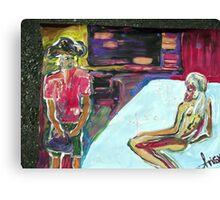 BEDROOM - acrylic, tempera, paper 18 x 24'' Canvas Print