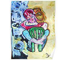 HUG - acrylic, tempera, paper 22 x 28'' Poster