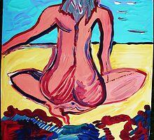 SAND VIEW - acrylic, tempera, paper 22 x 28'' by irishrainbeau