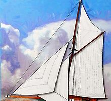 A digital painting of a Pilot Cutter 19th century by Dennis Melling
