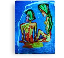 SISTERS - acrylic, tempera, paper 22 x 28'' Canvas Print