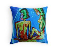 SISTERS - acrylic, tempera, paper 22 x 28'' Throw Pillow