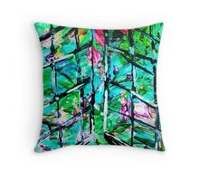 NEW DAY BEHIND OLD WINDOWS - acrylic, paper 22 x 28'' Throw Pillow