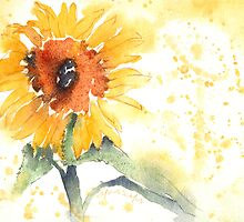 "Sunflower - Watercolor Painting - Garden Collection ""Bold"" by ShinyDesigns"