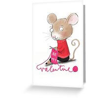 KNITTING VALENTINE MOUSE Greeting Card