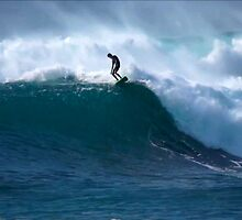 Surfer Waimea Bay Hawaii by kevin smith  skystudiohawaii