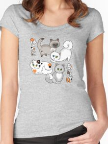 Neko to Asobo - Let's Play With Cats! Blue Flavor Women's Fitted Scoop T-Shirt