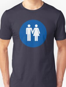 Lavatory Couple Love in Blue Unisex T-Shirt