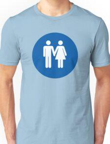 Lavatory Couple Love in Blue Unisex T-Shirt
