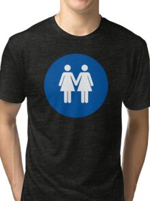 Woman on Woman Love in Blue Tri-blend T-Shirt