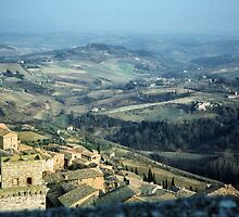 More town and country From top of Civica Museo Tower San Gimignano 198403140046 by Fred Mitchell