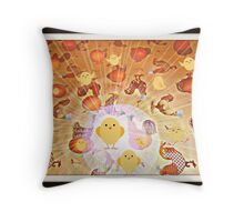 the chickens and the eggs Throw Pillow
