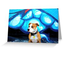 Graffiti  dog- blue Greeting Card