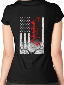 Bow Hunting USA Flag Women's Fitted Scoop T-Shirt