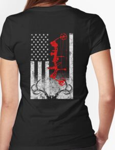 Bow Hunting USA Flag Womens Fitted T-Shirt