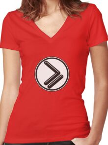 Greater than or Equal to - wht back Women's Fitted V-Neck T-Shirt