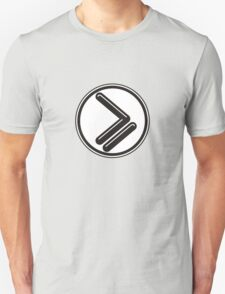Greater than or Equal to - wht back Unisex T-Shirt