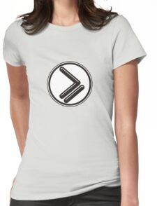 Greater than or Equal to - wht back Womens Fitted T-Shirt