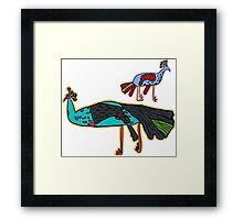 decorative peacock like a child's drawing Framed Print