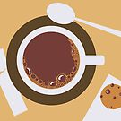 image of a cup of coffee, sugar, spoons and cookies by OlgaBerlet