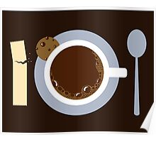 image of a cup of coffee, sugar, spoons and cookies Poster