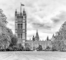 Houses of Parliament - Victoria Tower in Monochrome by Andy Burke