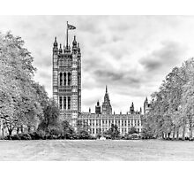 Houses of Parliament - Victoria Tower in Monochrome Photographic Print