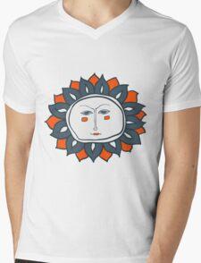 Sun face Mens V-Neck T-Shirt