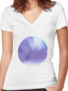 watercolor stains, background, design element, pattern. Women's Fitted V-Neck T-Shirt