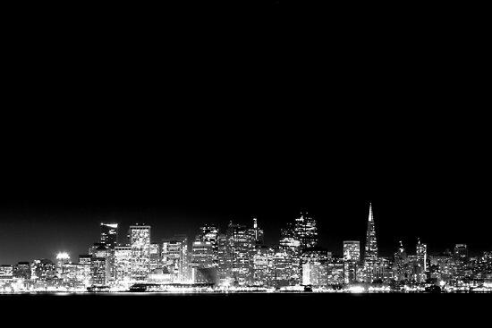 SF Skyline Black & White by Jenn Ramirez
