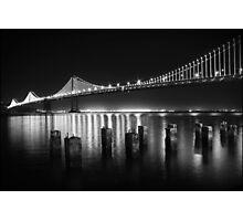 SF Bay Bridge Illuminated BW Photographic Print