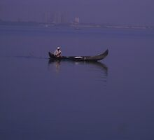 a fisher man in sea by danfreeze