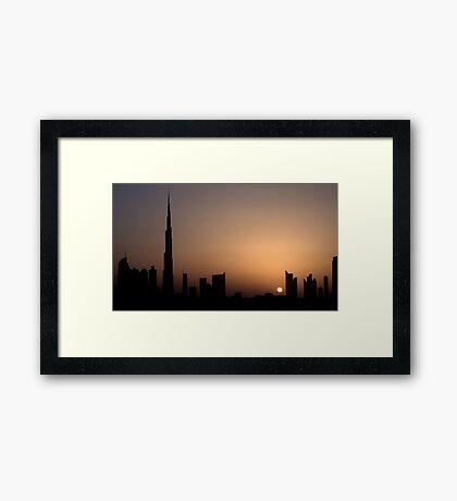 Dubai Sunset over SZR Framed Print