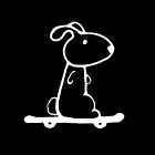 Rabbit on a Skateboard - White Version by Nik Usher