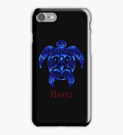 Sparkling Blue Hawaiian Sea Turtle on Black iPhone Case/Skin