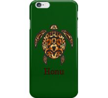 Gold Hawaiian Sea Turtle on Ocean Green iPhone Case/Skin