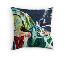 MISALLIANCE - acrylic, tempera, paper 22 x 28''  Throw Pillow