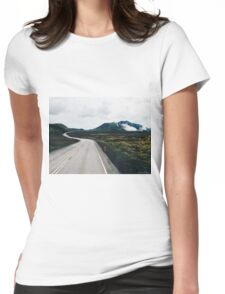 Winding Road Print Womens Fitted T-Shirt