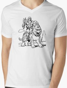 He-Man & Battlecat Mens V-Neck T-Shirt