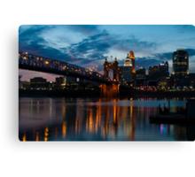John A. Roebling Suspension Bridge Reflection Canvas Print
