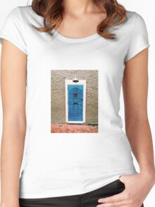 Blue Door Print Women's Fitted Scoop T-Shirt