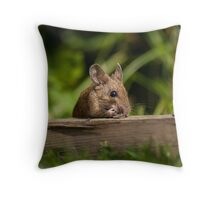 Field Mouse Eating Throw Pillow